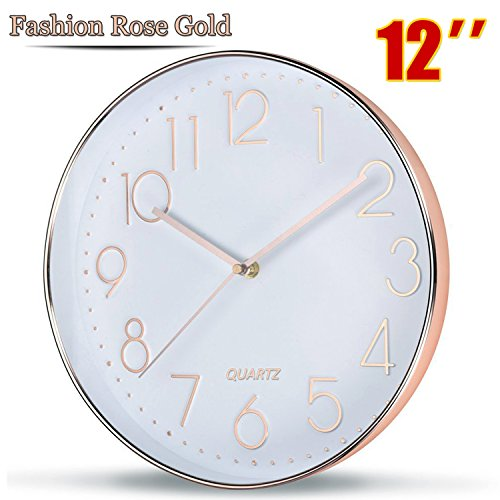 51xCRtV9AML - Rose Gold Wall Clock by SOULMATES-12 Inch Super Slim Frame-Non Ticking/Silent Sweep- With Gift Wrapped Package