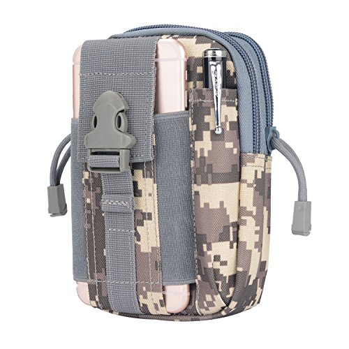 Digital Belt (LingAo Tactical Molle Pouch EDC Utility Gadget Belt Waist Bag, Camping Hiking Outdoor Gear Cell Phone Holster Holder for iPhone 6/6S (ACU camouflage))
