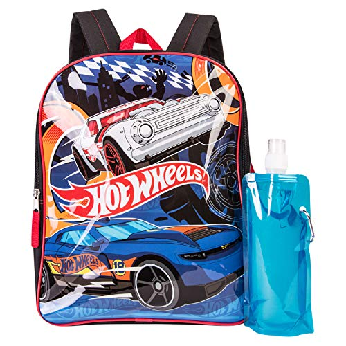 Hot Wheels Backpack Combo Set - Hot Wheels Boys' 3 Piece Backpack Set - Backpack, Waterbottle and Carabina (Black/Grey)