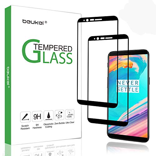 (2 Pack) Beukei for OnePlus 5T Tempered Glass Screen Protector, Glass with 9H Hardness, for OnePlus 5t, with Lifetime Replacement Warranty