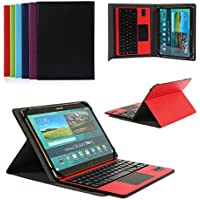 CoastaCloud Pu Leather Folio Bluetooth Keyboard Case Cover for Samsung Galaxy Note 10.1 N8010/N8000 (2012) and Tab A 9.7 T555C/T550 Tablet with QWERTY Layout Removable Keyboard and Touchpad Red
