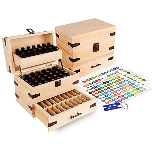 (Aroma Designs Wooden Essential Oil Multi-Tray Organizer, Holds 74 Oils)