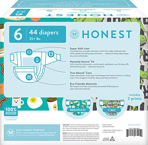 Amazon.com: The Honest Company Club Box Diapers with TrueAbsorb Technology, T-Rex & Breakfast, Size 6, 44 Count: Health & Personal Care