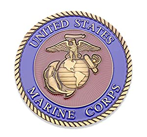 "3"" Marine Corps Challenge Coin Colored Filled - EGA Adhesive Medallion USMC - US Marines Military Coin Car Emblem - Amazing 3"" Custom Coin Designed by U.S.M.C Veterans from Coins For Anything Inc"