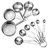 [upgrade version]Accmor 11 Piece Stainless Steel Measuring Spoons Cups Set, Premium Stackable Tablespoons Measuring Set for Dry and Liquid Ingredients, Perfect Cooking Baking Tool(Upgraded Version)
