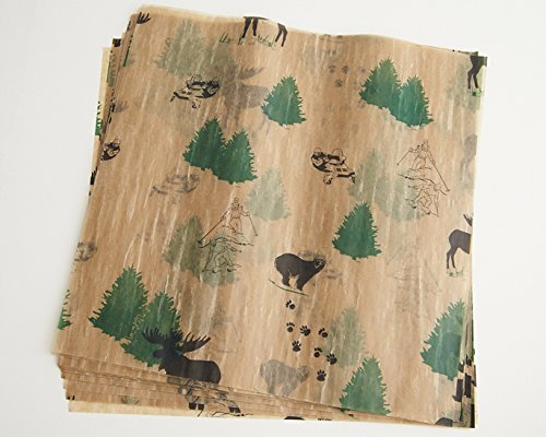 Food Wax Paper Sheets - (24) Woodland Natural Brown Green Black Skier Pine Tree 12'' x 12'' Candy Chocolate Sheets