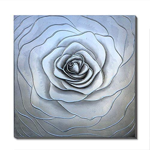 3Hdeko - Gray Abstract Flower Picture Wall Art Hand Painted Grey White Floral Oil Painting on Canvas with Silver Foil for Living Room Teen Girl Bedroom Decoration - Ready to Hang (30x30inch)