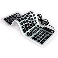 Roll Up Wireless Keyboard Spillproof Silicone Portable Folding Keyboard Silent Typing Soft Touch Keys with USB Receiver