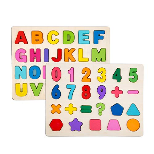 Alphabet Blocks Learning Puzzle | Wooden Upper Case Letter and Number Learning Board Toy - Ideal for Early Educational Learning for Kindergarten Toddlers & Preschools