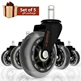 Office Chair Caster Wheels GIFT SET of 5 for ALL TYPES OF FLOORING - 3'' Heavy Duty Replacement Rollerblade Rubber Desk Chair Casters - Best Protection for Your Hardwood Floors