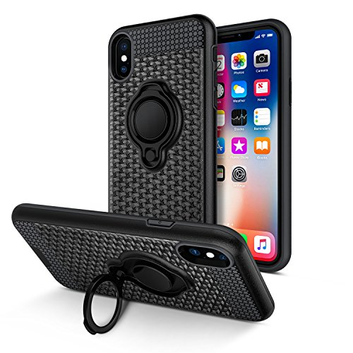 iPhone X Case, Vafru 360 Degree Rotating Ring Grip kickstand Dual Layer Shock-Absorption Anti-Scratch Protection Compatible with Magnetic Car Phone Mount for iPhone X–(Black)