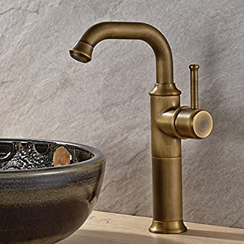 Vintage Antique Brass Finish Bathroom Basin Faucet Single Hole Mixer ...