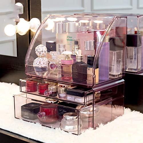 化粧品収納ボックス 大容量の化粧品収納ボックス引き出し収納ボックス化粧品スキンケア口紅マスク棚取り外し可能なアクリル素材丸ハンドル紫透明 SPFOZ (Color : Purple, Size : M)