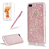 Glitter Cover for iPhone 7 Plus,Girlyard Crystal Luxury Bling Shinning Design Soft TPU Ultra-thin Flexible Rubber Anti-slip Scratch Resistant Sleeve for iPhone 7 Plus (5.5 inch)-Pink