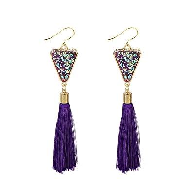 Women Girl Fashion Rhinestone Long Tassel Dangle Earrings Fringe Drop Earrings* Jewelry Findings