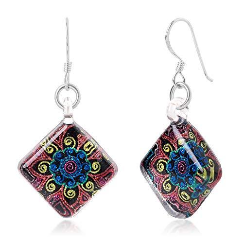 Sterling Silver Hand Blown Glass Multi-Colored Mandala Art Square Dangle Earrings