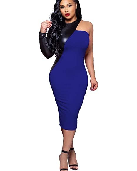 dc11463f96ef MACHERIE Dress for Women Off Shoulder Elegant Long Sleeve Bodycon Cocktail  Dresses Blue S