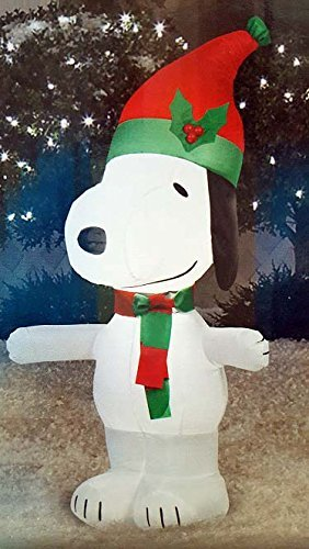 Gemmy Inflateables Holiday 89912 Air Blown Peanuts Snoopy with Red and Green Santa Hat Decor (Air Blown Inflatables)