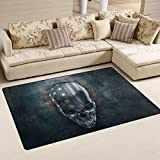 SAVSV Area Rug Carpet Floor Mat 5' x 3'3''(60''x39'') Lightweight Printed Decorative 3D Metal Skull With USA Flag Easy to Clean For Living Room Bedroom