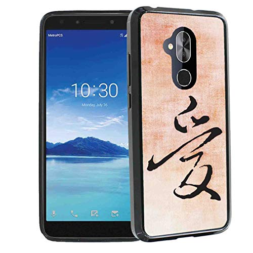 TalkingCase Superior Series Phone Cover Case for Alcatel 7, REVVL 2 Plus, Black Premium Thin Edge Bumper Corners, Duo-Layer Slim Gel, Love in Chinese Print, Designed and Printed in ()