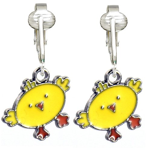Golden Yellow Baby Chicks Easter Clip-on Earrings for Kids- Bright Colors, Costume Glitter w Comfy (Darling The Chick Costumes)