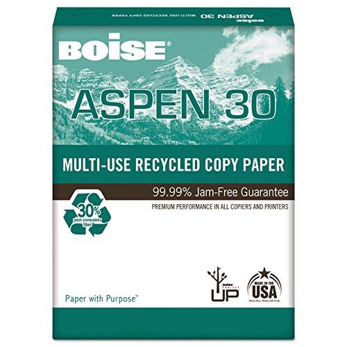 Boise Aspen 30 Recycled Copy/Laser Paper, 92 Brightness, 20lb, Legal, 5000 Sheets