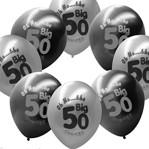 r Old Latex Balloons Black Gray Printed Happy 50th Birthday Party (Hill Latex Balloons)