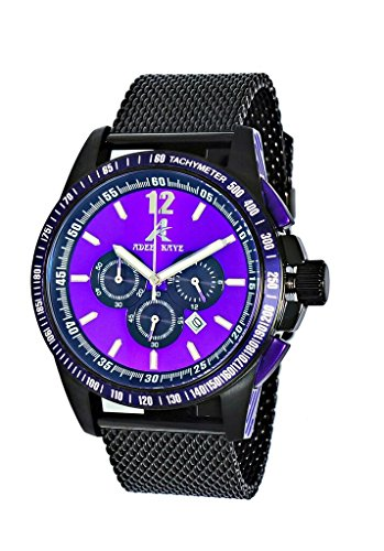 Adee Kaye AK7141 Men's 12/24 Hr. Sporty Chronograph Watch w/ Anti Reflection Crystal-IP Black tone/Purple