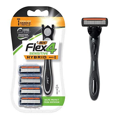 BIC Flex 4 Sensitive Hybrid Men's 4-Blade Razor, 1 Handle, 4 -