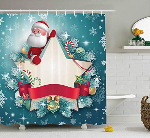- Ambesonne Christmas Shower Curtain, Santa Claus Star Banner Snowflakes Ribbon and Candy Cane Tree Winter Season Theme, Cloth Fabric Bathroom Decor Set with Hooks, 75