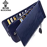 Huztencor Women's Credit Card Holder RFID Blocking Oil Wax Leather Multi Card Organizer Wallet Slim Long Zipper Bi-fold Business Card Case Clutch Wallet with ID Window Blue (FBA)
