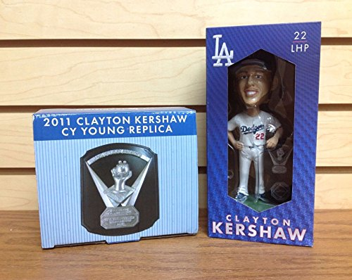 Clayton Kershaw 2011 CY Young Award PLAQUE and Clayton Kershaw 2015 Los Angeles Dodgers STADIUM PROMO Bobblehead - Young Award Cy