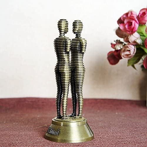 LKXZYX Decorativos Figuras Salon candelabros de Jardin Exterior Miniatura,Chapado en Metal artesanía Doble Estatua Adornos conmemorativos: Amazon.es: Hogar