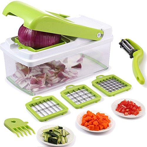 Vegetable Chopper,Upintek Vegetable Fruit Dicer,Effortless No-Mess Salad Onion Vegetable Cutter+Peeler Slicer (Freebies),3Interchangeable Blades Set with Food Container,Cleaning Brush for Veggie Pasta (Nicer Dicer Plus As Seen On Tv)