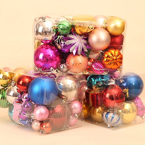 ADCorner Colorful Christmas ball for tree decoration small ball for wedding Christmas holiday party Christmas pendant ornament 60-70pcs for big package (big)