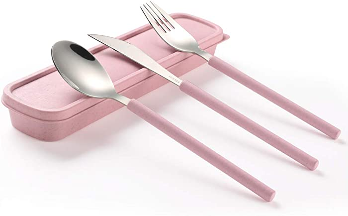 ArderLive 3 PCS Outdoor Flatware Set with Case ,Fork Spoon Knife/Travel Set for Travel, Lunch Box and Camping,Pink.