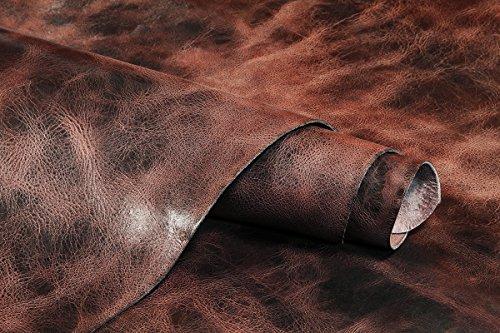 (Vintage Tan Leather Hide Water Buffalo Full Grain Hide Hand Antiqued 8-9oz)