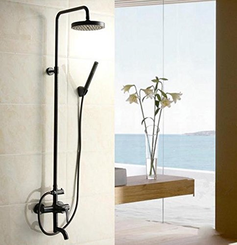 GOWE Oil Rubbed Bronze Bathroom Tub Shower Set Faucet Wall Mount Mixer Tap with Shower Head 0