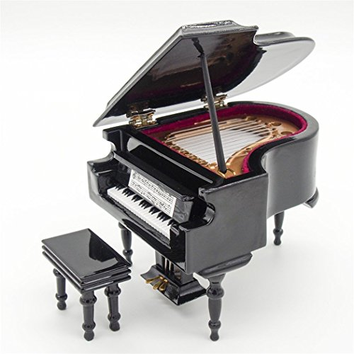 Odoria 1:12 Black Grand Piano with Stool Musical Instrument Music Box Miniaure Dollhouse