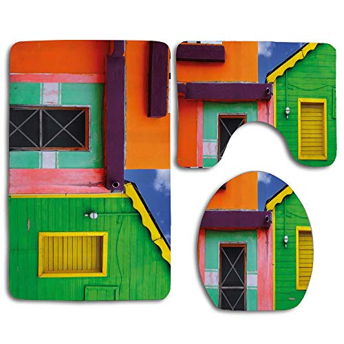 (EnmindonglJHO Caribbean Houses in Vibrant Color Scheme in Isla Mujeres Mexico Latin America Photo Bath Mat Bathroom Carpet Rug Non-Slip 3 Piece Toilet Mat Sets )