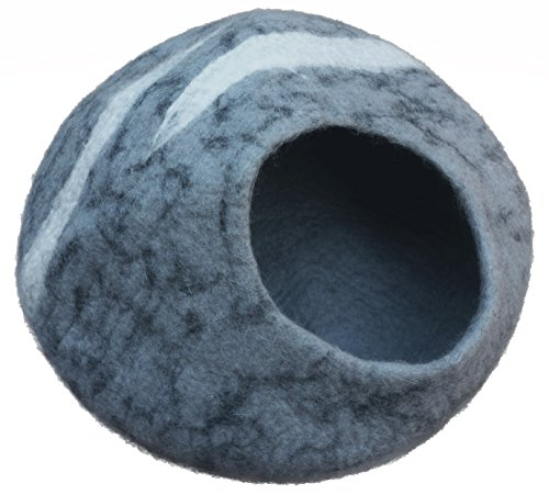 Earthtone Solutions Cat Cave Bed, Unique Handmade Natural Felted Merino Wool, Large Covered and Cozy, Also Perfect for…