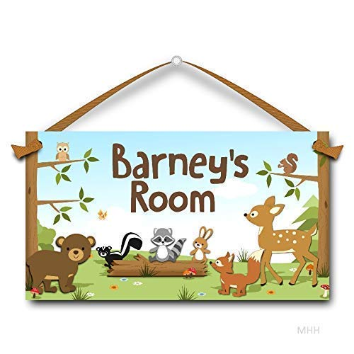 Woodland Forest Animals, Personalised Kids Door Sign - Personalised Animal
