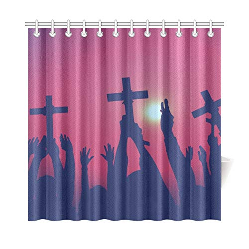 WHIOFE Home Decor Curtains for Bathrooms Cross Catholicism Determination Spiritually Crucifix Concept Polyester Fabric Waterproof Bath Shower Curtain for Bathroom 72X72 Inch with Hooks