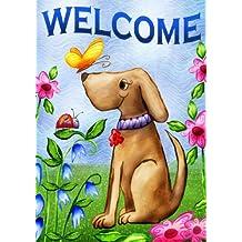 Toland Home Garden 112078 Toland-Welcome Dog-Decorative Double Sided Spring Summer Puppy Cute USA-Produced Garden Flag