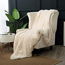 "Reafort Luxury Long Hair Shaggy PV Fur Faux Fur Oversized Throw Blanket (Cream, 60""X70"" Throw)"