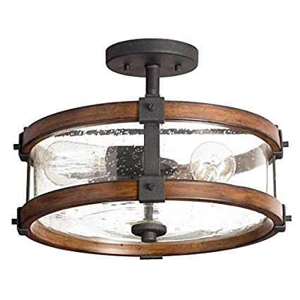 Kichler 14 inch w distressed black and wood clear glass semi flush kichler 14 inch w distressed black and wood clear glass semi flush mount light aloadofball Choice Image