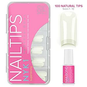 Natural Acrylic False Nail Tips with Nail Glue