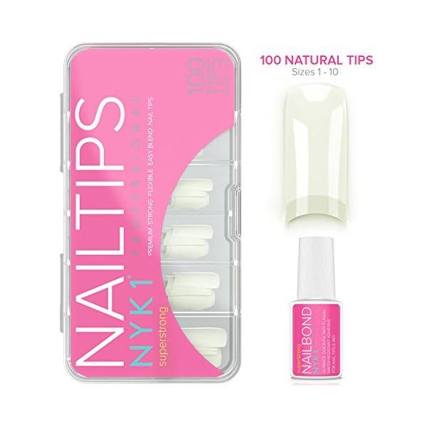 Natural Acrylic False Nail Tips with Nail Glue