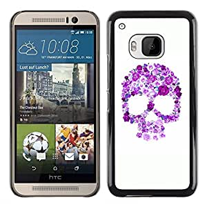 Shell-Star Arte & diseño plástico duro Fundas Cover Cubre Hard Case Cover para HTC One M9 ( Floral Purple Skull White Pink Spring )