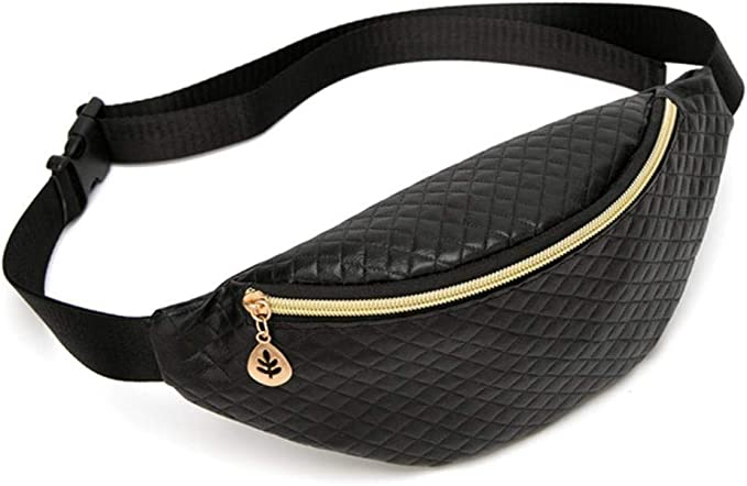 Fgh Famale Fitness Fanny Pack Belt Brand Travel Leather Trendy Chest Waist Bag Running for Women Girls,Quilted Gold: Amazon.es: Hogar